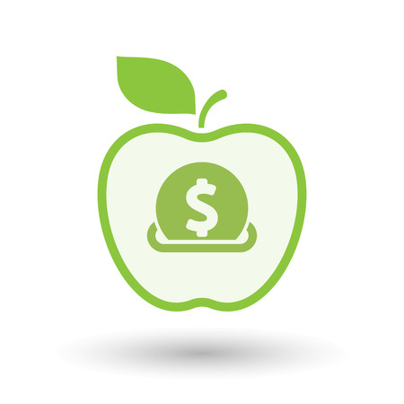 Illustration of an isolated line art healthy apple fruit vector icon with  a dollar coin entering in a moneybox Illustration