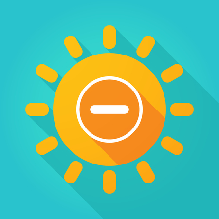 subtract: Illustration of a long shadow  bright sun icon with a subtraction sign