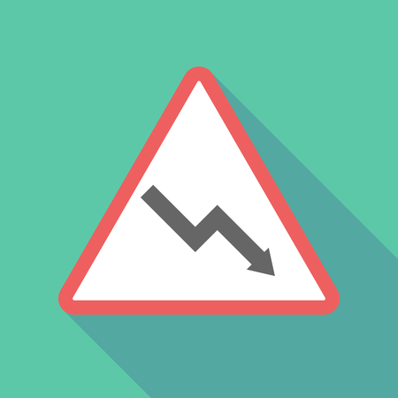 Illustration of a long shadow  triangular warning sign icon with a descending graph Illustration