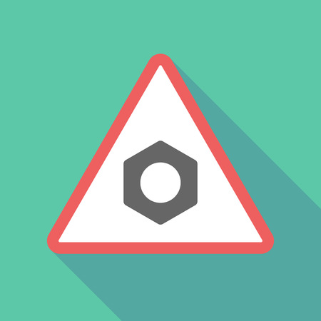 rivets: Illustration of a long shadow  triangular warning sign icon with a nut Illustration