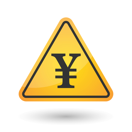 yuan: Illustration of an isolated danger signal icon with a yen sign Illustration