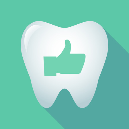 comunicacion oral: Illustration of a long shadow tooth icon with a thumb up hand