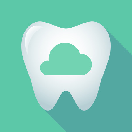 oral communication: Illustration of a long shadow tooth icon with a cloud Illustration