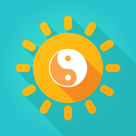 Illustration of a long shadow  bright sun icon with a ying yang Illustration