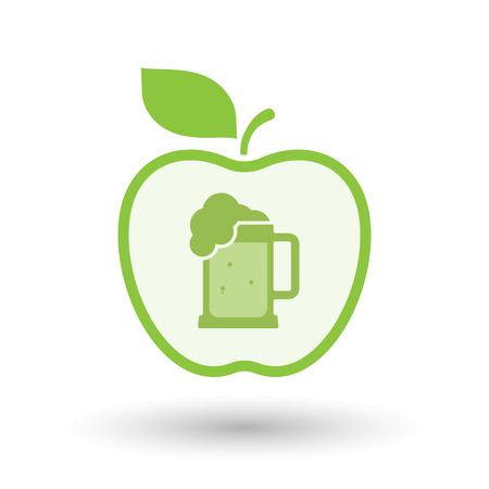 tarro cerveza: Illustration of an isolated line art healthy apple fruit vector icon with  a beer jar icon