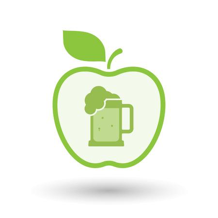 beer jar: Ilustración de un icono del vector de las manzanas sano línea de arte con un icono de jarra de cerveza