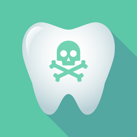 Illustration of a long shadow tooth icon with a skull