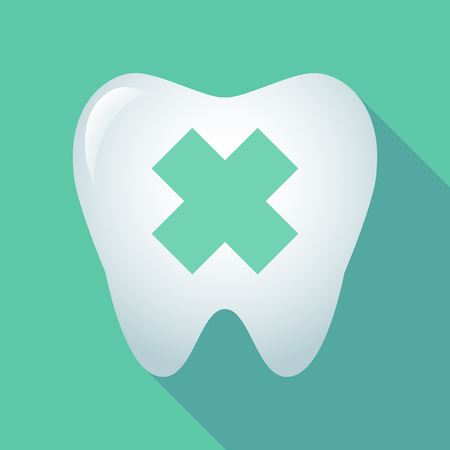 alerting: Illustration of a long shadow tooth icon with an irritating substance sign
