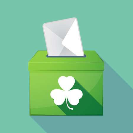 elect: Illustration of a long shadow coloured ballot box icon with a clover
