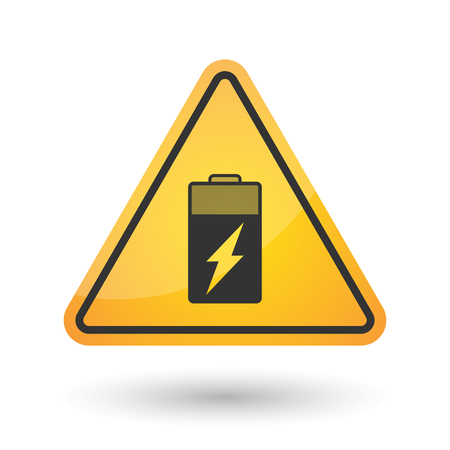 lithium: Illustration of an isolated danger signal icon with a battery Illustration