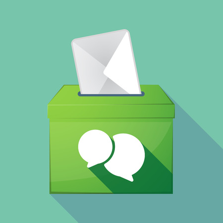 elect: Illustration of a long shadow coloured ballot box icon with  comic balloons Illustration