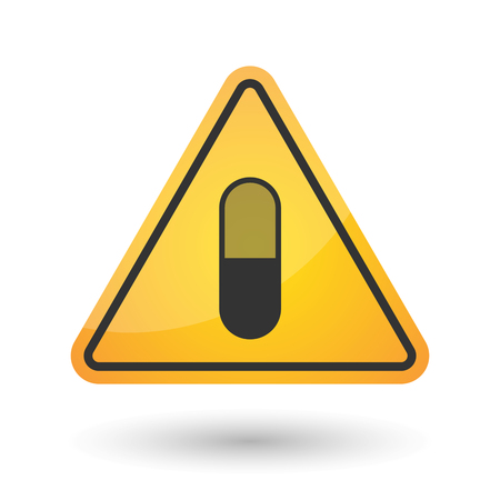 Illustration of an isolated danger signal icon with a pill
