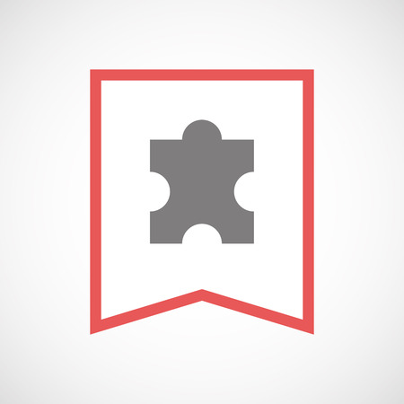 art piece: Illustration of an isolated line art ribbon icon with a puzzle piece