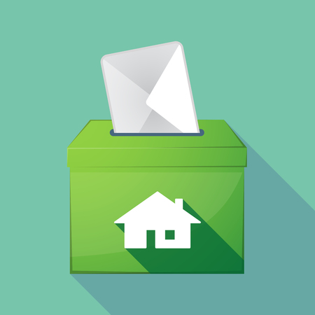 Illustration of a long shadow coloured ballot box icon with a house Illustration