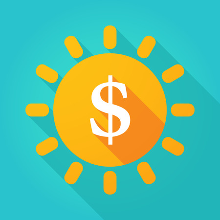 Illustration of a long shadow  bright sun icon with a dollar sign Illustration