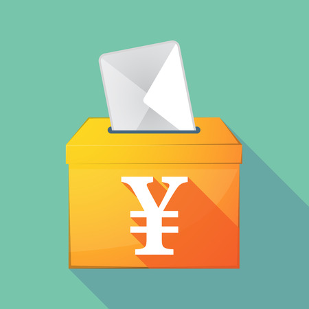 Illustration of a long shadow coloured ballot box icon with a yen sign