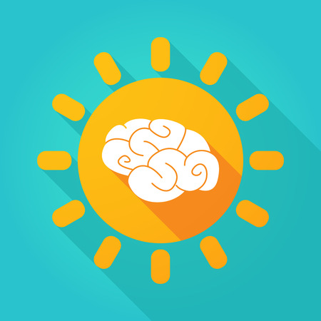 contemplate: Illustration of a long shadow  bright sun icon with a brain