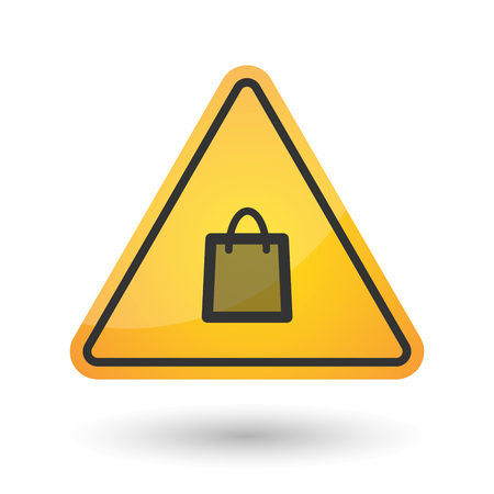 gift accident: Illustration of an isolated danger signal icon with a shopping bag Illustration