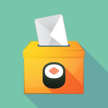 elect: Illustration of a long shadow coloured ballot box icon with a piece of sushi maki