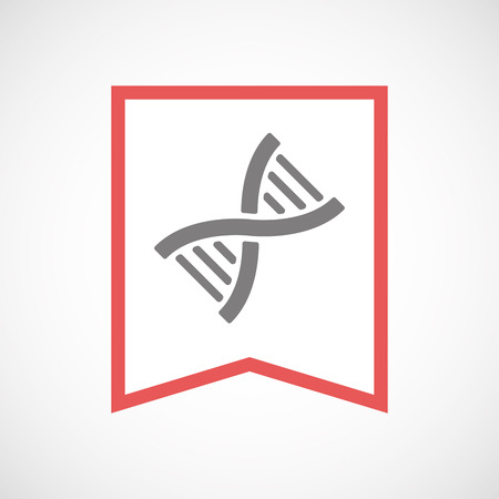 transgenic: Illustration of an isolated line art ribbon icon with a DNA sign Illustration