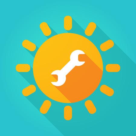 llave de sol: Ilustración de una sombra larga icono del sol brillante con una llave Vectores