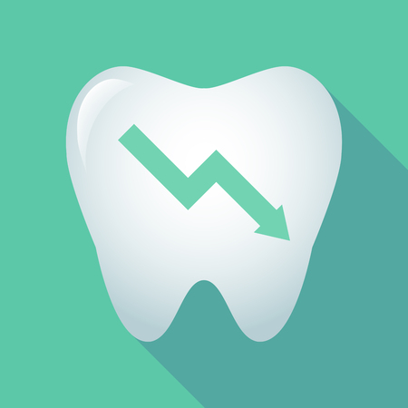 descending: Illustration of a long shadow tooth icon with a descending graph