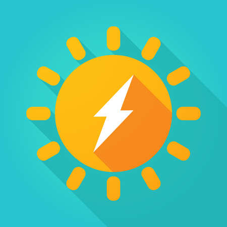 Illustration of a long shadow  bright sun icon with a lightning