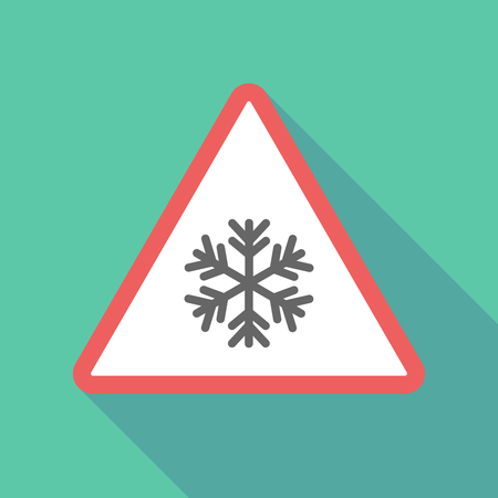 Illustration of a long shadow  triangular warning sign icon with a snow flake