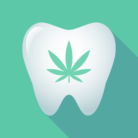 prescriptions: Illustration of a long shadow tooth icon with a marijuana leaf Illustration