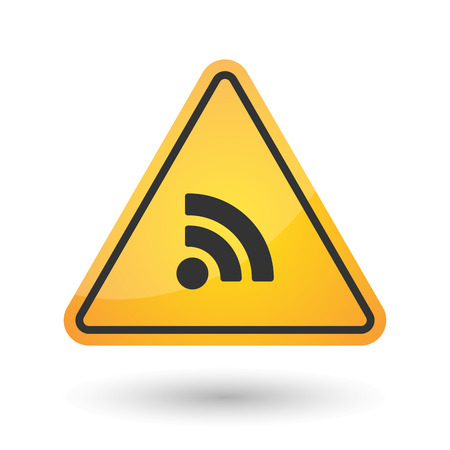 really simple syndication: Illustration of an isolated danger signal icon with an RSS sign