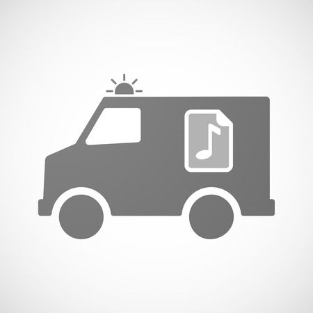 music score: Illustration of an isolated ambulance furgon vector icon with  a music score icon