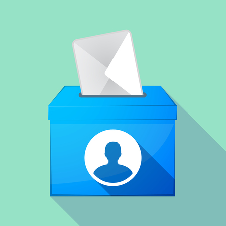 elect: Illustration of a long shadow coloured ballot box icon with a male avatar