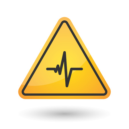 heart damage: Illustration of an isolated danger signal icon with a heart beat sign
