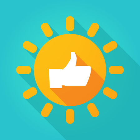 confirm: Illustration of a long shadow  bright sun icon with a thumb up hand