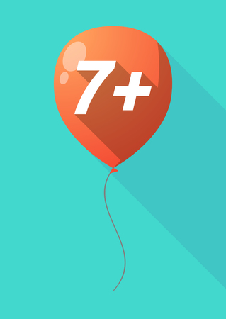 approval rate: Illustration of a long shadow decorative air balloon icon with    the text 7+