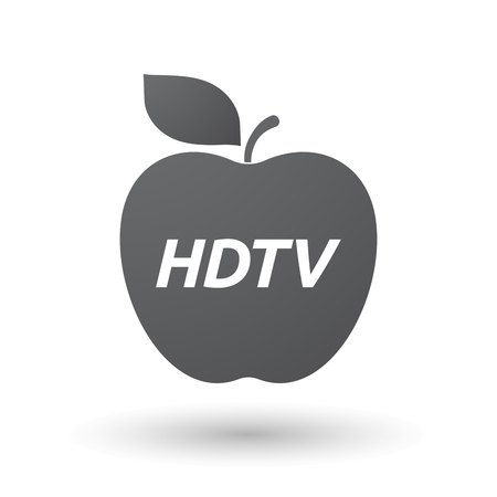 hdtv: Illustration of an isolated fresh apple fruit icon with    the text HDTV Illustration
