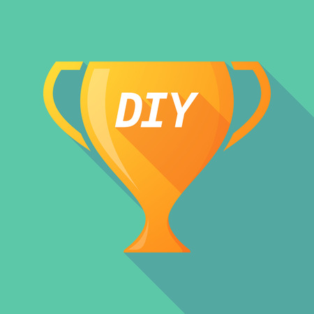 Illustration of a long shadow golden award cup icon with    the text DIY