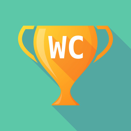 wc: Illustration of a long shadow golden award cup icon with    the text WC