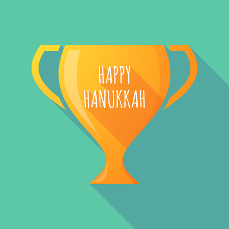 Illustration of a long shadow golden award cup icon with    the text HAPPY HANUKKAH