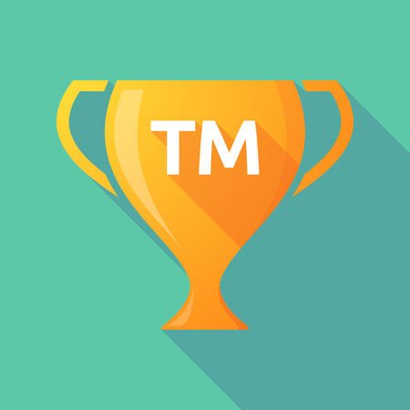 Illustration of a long shadow golden award cup icon with    the text TM