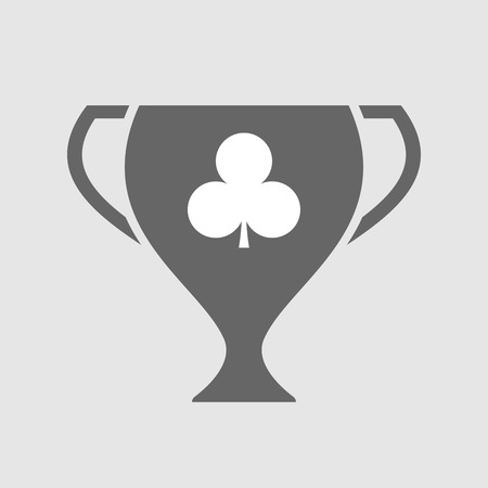 Illustration of an isolated award cup vector icon with  the  Club  poker playing card sign