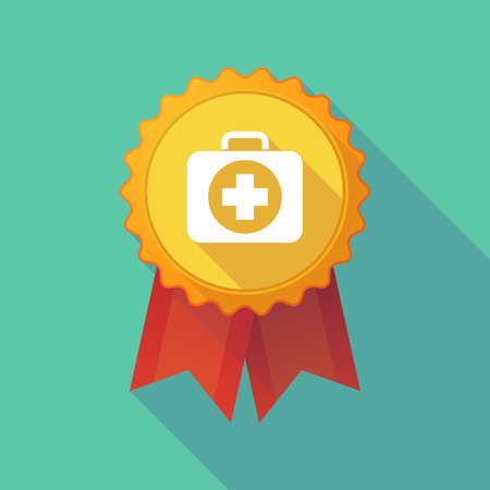 Illustration of a long shadow badge icon with  a first aid kit icon