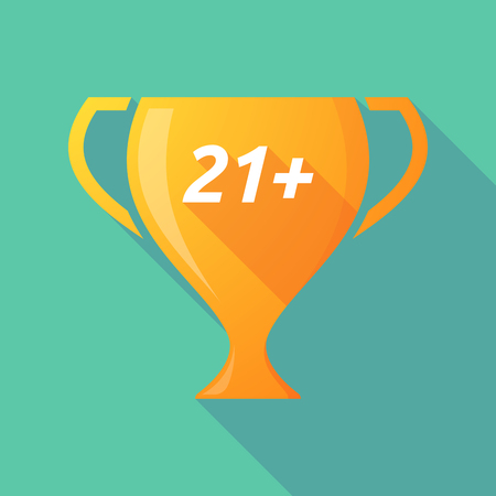 approval rate: Illustration of a long shadow golden award cup icon with    the text 21+