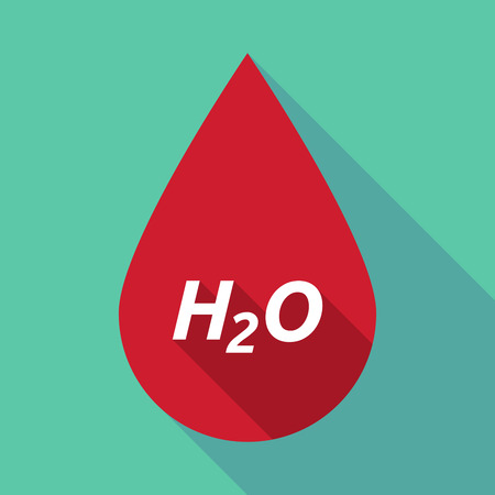 h2o: Illustration of a long shadow red blood drop icon with    the text H2O