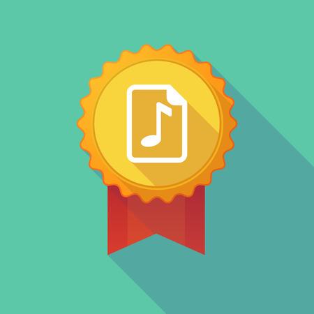 partition musique: Illustration d'un badge icône longue ombre avec une icône de partition