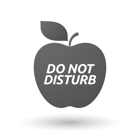 Illustration of an isolated fresh apple fruit icon with    the text DO NOT DISTURB