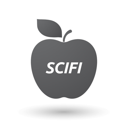 genre: Illustration of an isolated fresh apple fruit icon with    the text SCIFI
