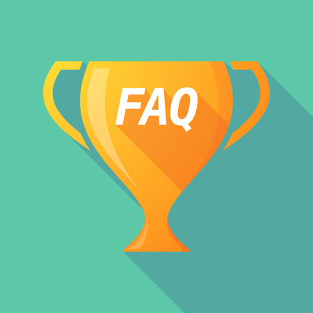 Illustration of a long shadow golden award cup icon with    the text FAQ