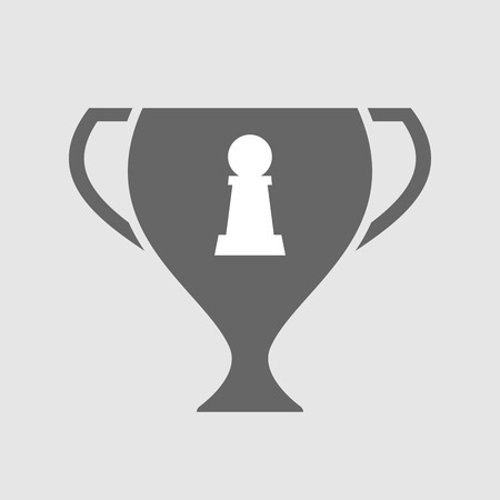 championship: Illustration of an isolated award cup vector icon with a  pawn chess figure Illustration