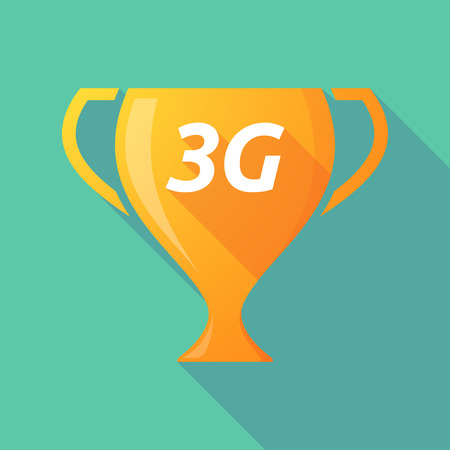 3g: Illustration of a long shadow golden award cup icon with    the text 3G